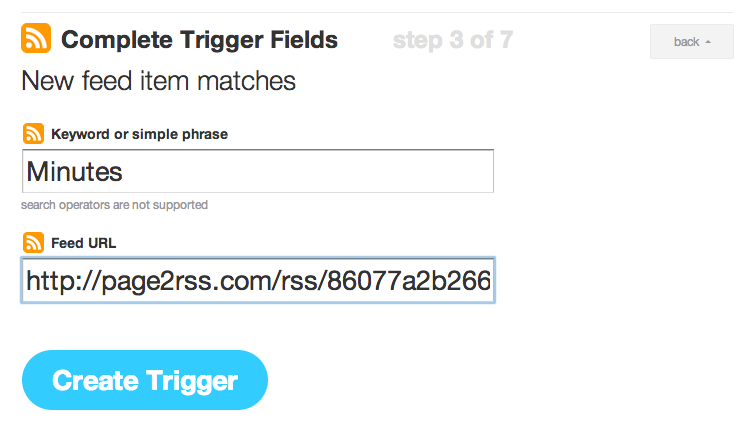 Filter RSS in IFTTT