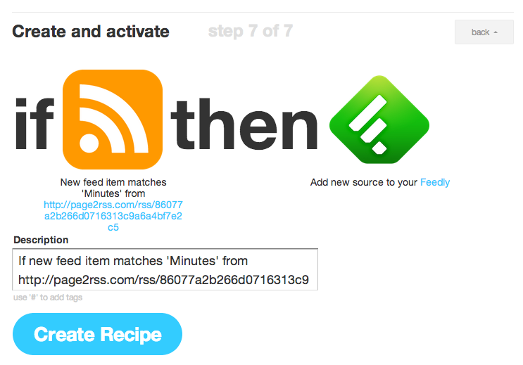 Accept IFTTT recipe