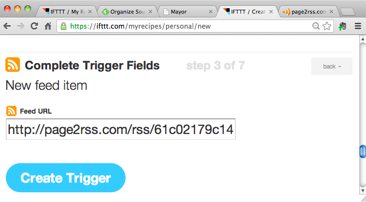 add rss trigger in IFTTT